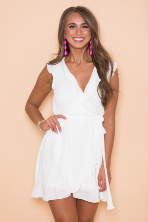 Quiet Grace Wrap Dress White