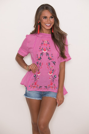 Dreaming Of Roses Floral Blouse Pink