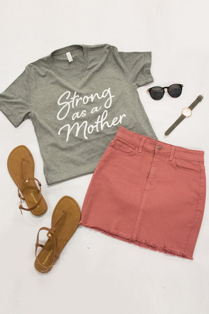 Strong As A Mother V-Neck Graphic Tee