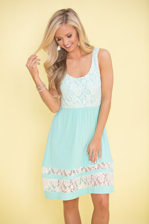Steal You Away Lace Dress Mint