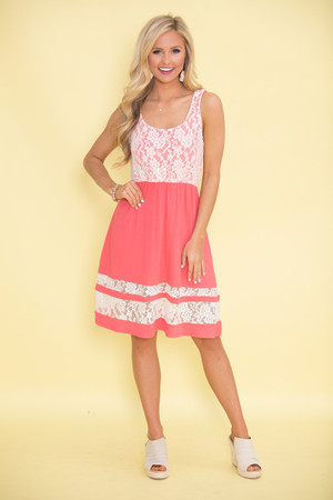 Steal You Away Dress Lace Dress Coral