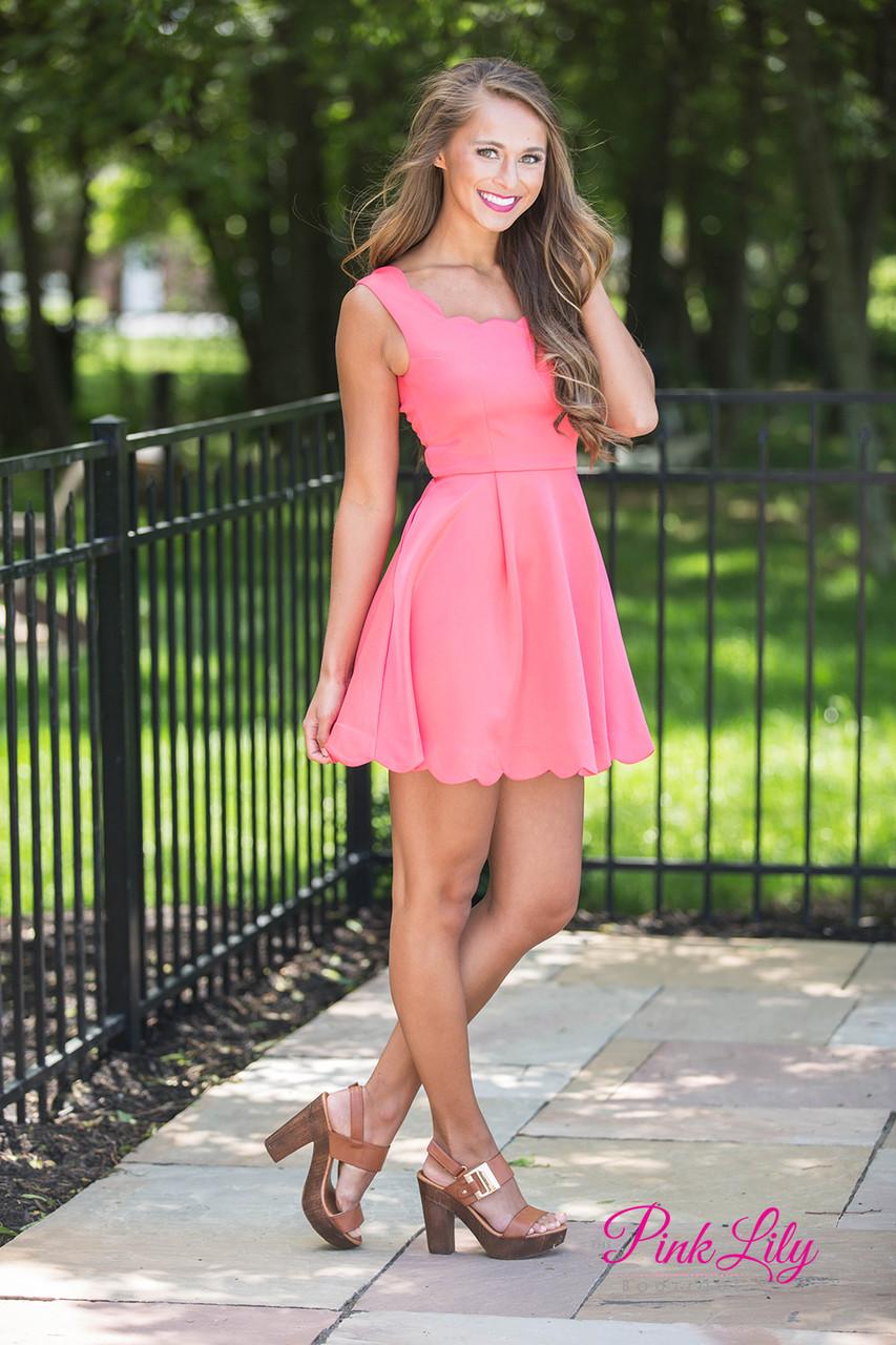 Pink scalloped dress