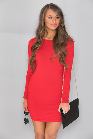 Power of Love Piko Dress Red