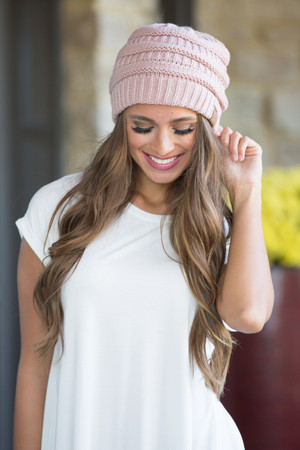 Dusty Pink Knit Beanie CLEARANCE