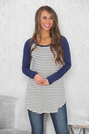 In The Line Stripe Tunic Navy CLEARANCE