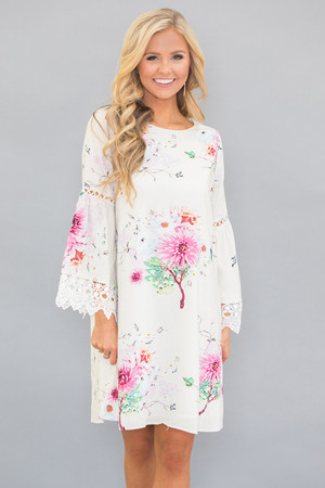 Coastal Sunset Floral Dress Ivory