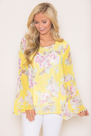 Just As You Are Yellow Floral Blouse