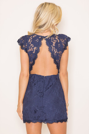 Forever Divine Navy Lace Dress