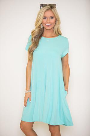 Let's Just Relax Aqua Dress