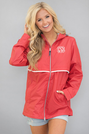 Personalized New Englander Rain Jacket Red