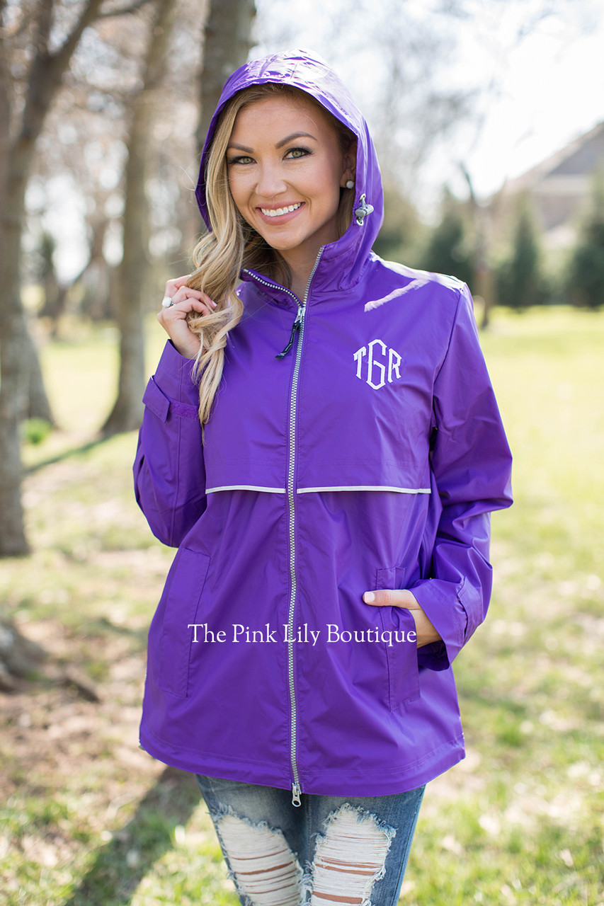 personalized new englander rain jacket purple