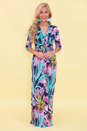 Caribbean Melody Floral Maxi Dress