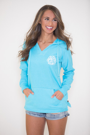 True Colors Vinyl Monogram Hoodie Aqua