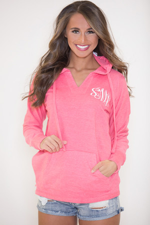 True Colors Vinyl Monogram Hoodie Pink