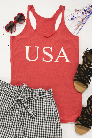 USA Graphic Tank Vintage Red