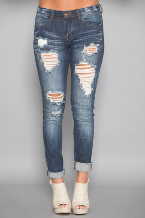 The Alexandra Distressed Machine Jeans