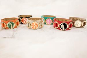 Monogrammed Vinyl Leather Cuff Bracelets