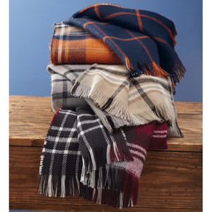 Forget The World Plaid Blanket Scarves