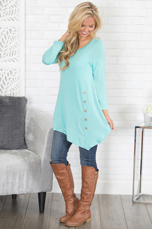 Mint Side Button Tunic