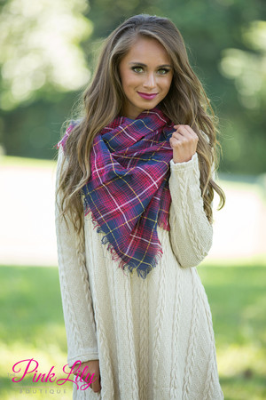 Tried and True Plaid Scarf Red/Navy  SALE