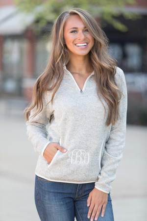 Monogrammed Heathered Pullover Oatmeal