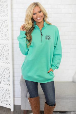 Monogrammed Crosswind Quarter Zip Sweatshirt Mint