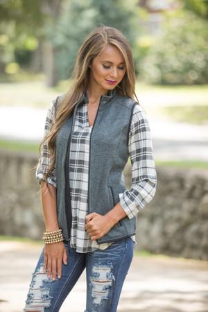 Monogrammed Heathered Vest Charcoal