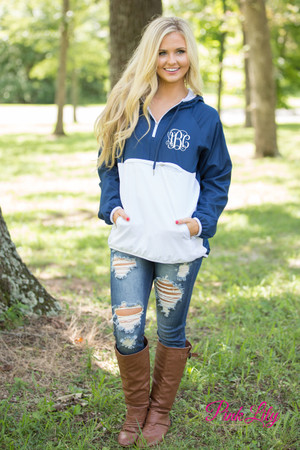 Monogrammed Colorblock Anorak Navy And White