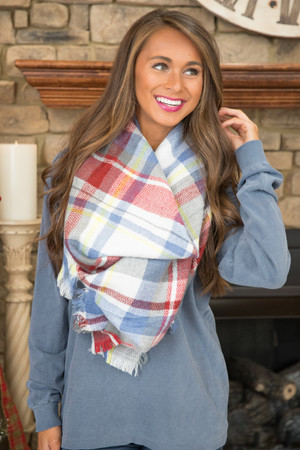 A Vibrant Life Blanket Scarf Burgundy And Grey CLEARANCE