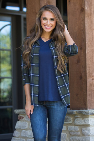 Trusting My Instincts Plaid Blouse   CLEARANCE