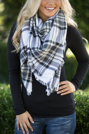 Oversized Blanket Scarf Black And White  SALE