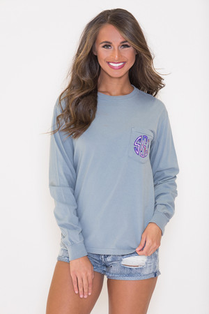 Comfort Colors Personalized Long Sleeve Pocket Tee Stone