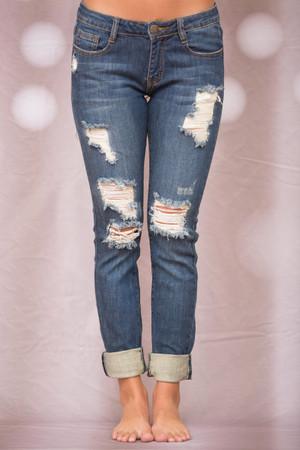 The Caroline Distressed Machine Jeans CLEARANCE