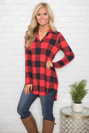 Have A Little Fun Plaid Tunic Red