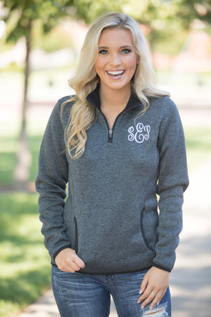 Monogrammed Heathered Pullover Charcoal