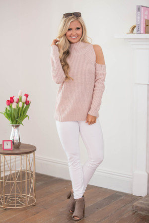 Beautiful Believer Sweater Dusty Pink CLEARANCE