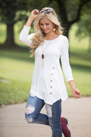 Ivory Side Button Tunic