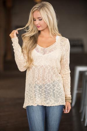 A Heart To Heart Talk Sweater Cream  CLEARANCE