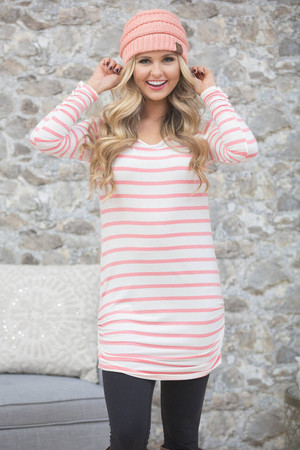 Close To You Striped Tunic Pink CLEARANCE