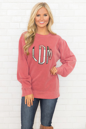 Comfort Colors Personalized Sweatshirt Faded Crimson