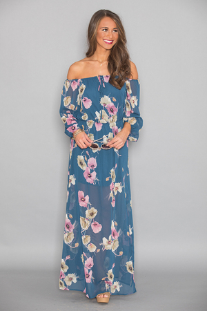 Let's Go Far Away Floral Maxi Dress