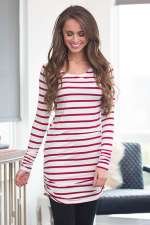 Close To You Striped Tunic Wine CLEARANCE