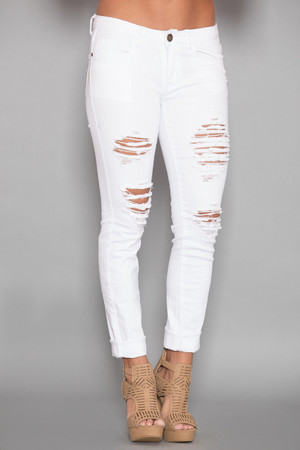 The Heather White Distressed Machine Jeans