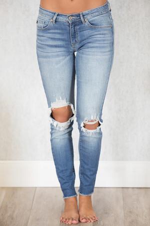 The Kallista Medium Wash Distressed Crop Jeans