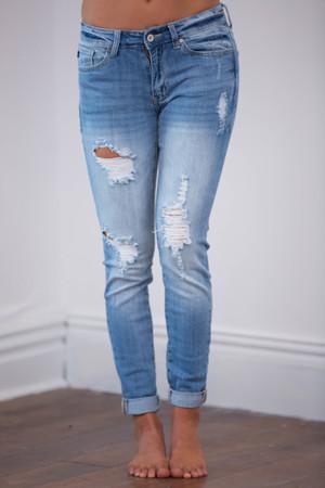 The Libbie Light Wash Distressed Skinny Jeans