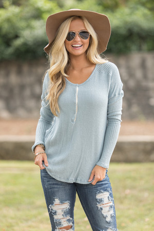 Be My Escape Henley Light Blue CLEARANCE
