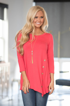 Coral Side Button Tunic