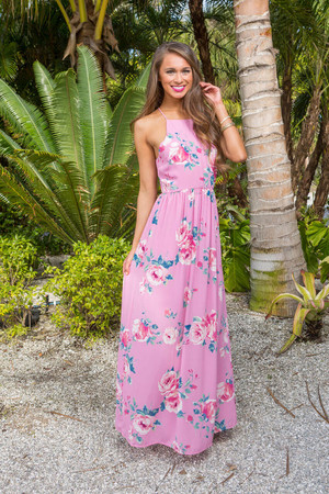 Someday We'll Be Together Floral Maxi Pink CLEARANCE