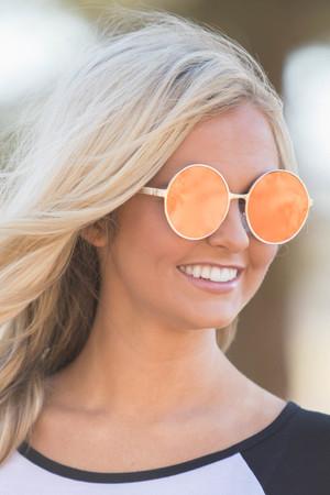 Chasing The Sun Round Sunglasses Orange