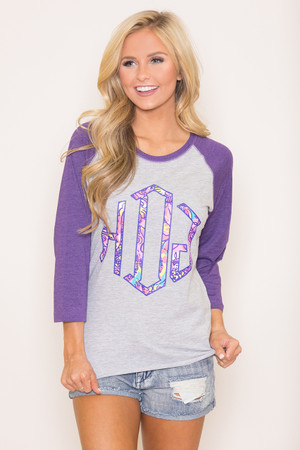 Personalized Vintage Raglan Tee Purple